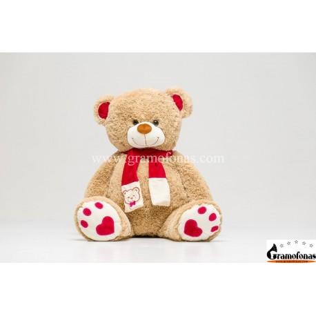 """120 (130) cm šviesiai rudas meškinas """"Martin Big Foot"""" su raudonom ausim/pėdom/šaliku"""