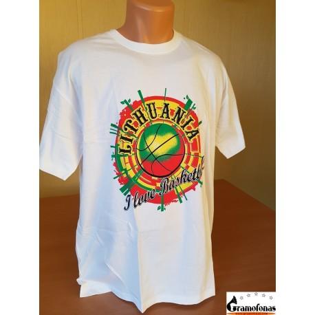 "Marškinėliai ""I love basketball"" (Balti)"