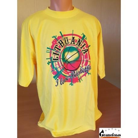 "Marškinėliai ""I love basketball"" (Geltoni)"