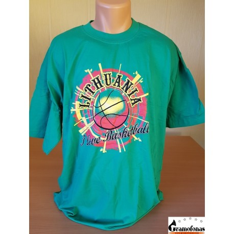 "Marškinėliai ""I love basketball"" (Žali)"