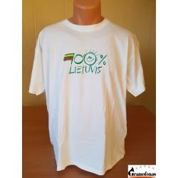 """Marškinėliai """"100 % LIETUVIS"""" (Balti)"""