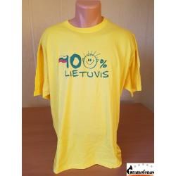 """Marškinėliai """"100 % LIETUVIS"""" (Geltoni)"""