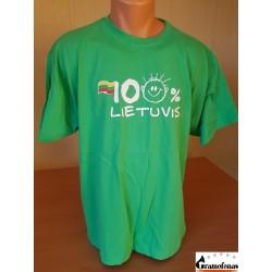 """Marškinėliai """"100 % LIETUVIS"""" (Žali)"""
