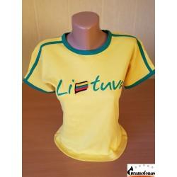 """Marškinėliai """"Lietuva"""" (Siuvinėti-geltoni)"""
