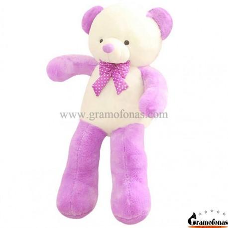 Baltas-violetinis meškiukas 100 cm HAPPY